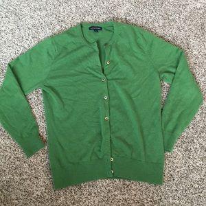 Lands end green cashmere cardigan medium 10-12